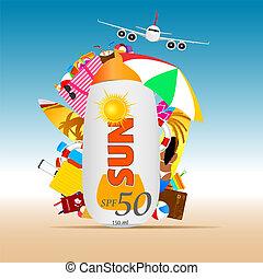 estate, sole, viaggiare, illustrazione, fondo, crema