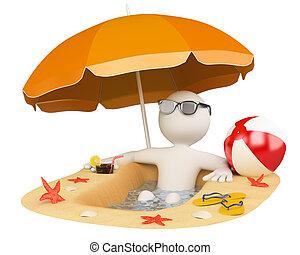 estate, spiaggia bianca, persone., 3d