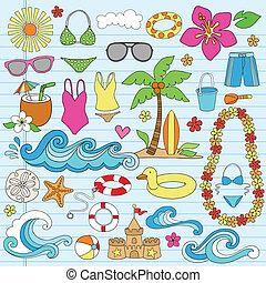 estate, spiaggia, hawaiano, doodles