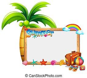 estate, tema, bordo, sagoma