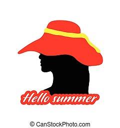 estate, testa, silhouette, illustrazione, ragazza, ciao