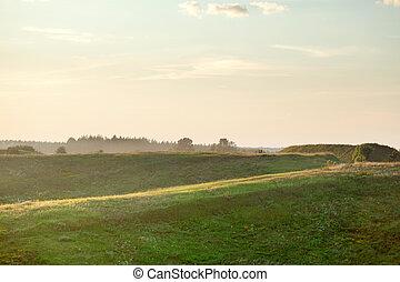 estate, tramonto, paesaggio