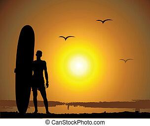 estate, vacanze, surfing