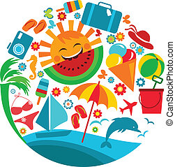estate, vacation;, sagoma, icone