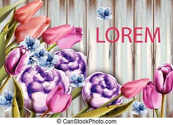 estate, vector., mazzolino, primavera, watercolor., rose, fondo, tulips, cartelle, legno