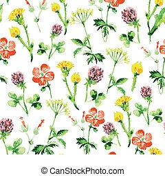 estate, vendemmia, pattern., seamless, acquarello, wildflowers, retro, fondo, floreale