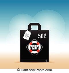 estate, vendita, illustrazione, esso, borsa, carta