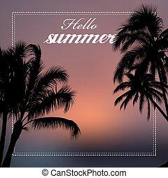 estate, vettore, ciao, illustrazione