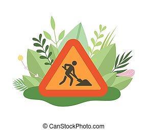 estate, vettore, primavera, foglie, azzurramento, illustrazione, segno, costruzione, vangata, stagione, uomo, sotto, fiori, o, suolo