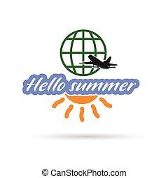 estate, viaggiare, ciao, illustrazione, icona
