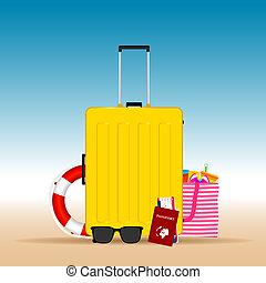 estate, viaggiare, illustrazione, giallo, valigia