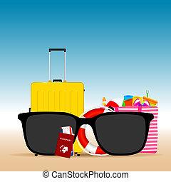 estate, viaggiare, occhiali da sole, illustrazione, nero