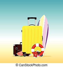 estate, viaggiare, surfboard, illustrazione