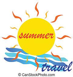 estate, viaggiare, vettore, illustrazione, icona