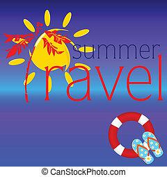 estate, viaggiare, vettore, illustrazione, segno