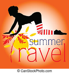 estate, viaggiare, vettore, ragazza