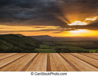 estate, vibrante, sopra, tramortire, corteggiare, tramonto, escarpemt, paesaggio