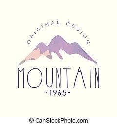 estd, montagna, esterno, regione selvaggia, andando gita, 1965, originale, emblema, illustrazione, avventure, vettore, retro, logotipo, sagoma, distintivo, disegno, turismo