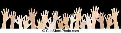 estensione, molte mani, persone, loro, su