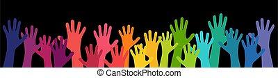 estensione, su, molte mani, persone, loro