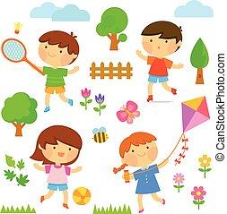 esterno, bambini, gioco