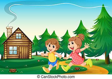 esterno, casa esegue, legno, cima colle, bambini