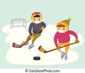 esterno, caucasico, ragazzi, hockey, gioco, rink.