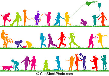 esterno, colorato, bambini, silhouette, set, gioco