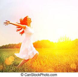 esterno, enjoyment., nature., libero, ragazza donna, godere, felice