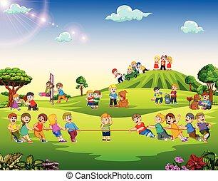 esterno, felice, gioco, bambini