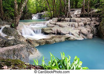 esterno, fotografia, pioggia, forest., cascata, giungla, tailandia