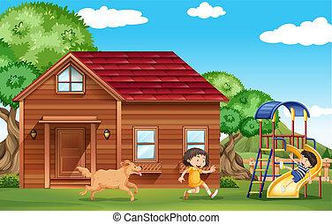 esterno, gioco, cane, bambini