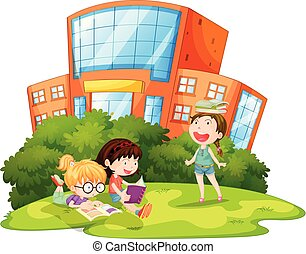 esterno, gioco, scolari
