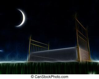 esterno, letto, stelle, sotto