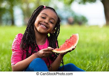esterno, -, mangiare, persone, nero, anguria, ragazza, carino, poco, ritratto, africano, giovane
