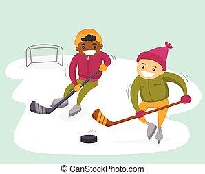 esterno, multiethnic, rink., ragazzi, hockey, gioco
