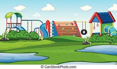 esterno, parco, campo di gioco, scena