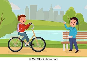 esterno, persone colorano, passatempo, attività, città, ricreativo, characters., musica, sentiero per cavalcate, riunione, adolescente, urbano, parco, ozio, ascolto, amici, cartone animato, ragazzo, illustration., cuffie, bicicletta