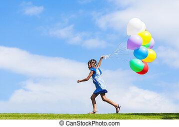 esterno, -, persone, nero, gioco, ragazza, palloni, poco, carino, ritratto, africano, giovane