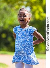 esterno, -, persone, ragazza nera, carino, ritratto, africano, giovane