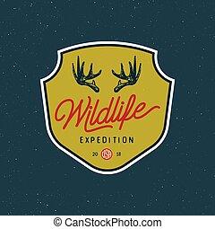 esterno, regione selvaggia, vendemmia, illustrazione, mano, vettore, retro, disegnato, disegnato, emblem., logo., avventura