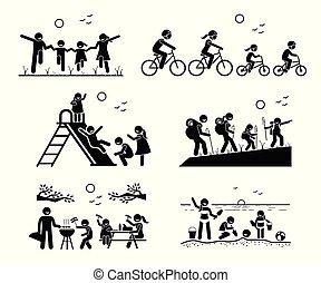 esterno, ricreativo, activities., famiglia
