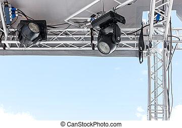 esterno, riflettori, scena, illuminazione, autotreno, montato, palcoscenico