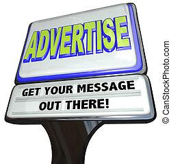 esterno, segno, annuncio pubblicitario, pubblicizzare, messaggio, negozio