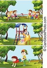 esterno, set, bambini giocando