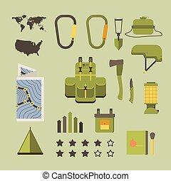 esterno, -, set, icona, turismo, hiking apparecchiatura, grafica, viaggiare, informazioni, vettore, recreation.