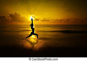 esterno, yoga, donna, silhouette