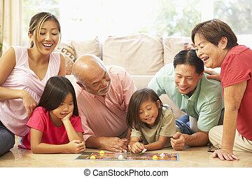 esteso, gruppo, famiglia, asse gioco, casa, gioco