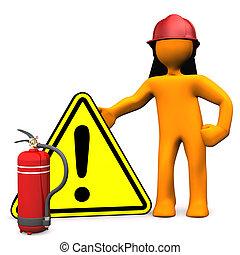 estintore, pompiere, pericolo