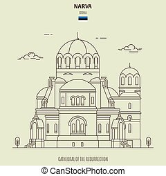 estonia., narva, cattedrale, punto di riferimento, risurrezione, icona